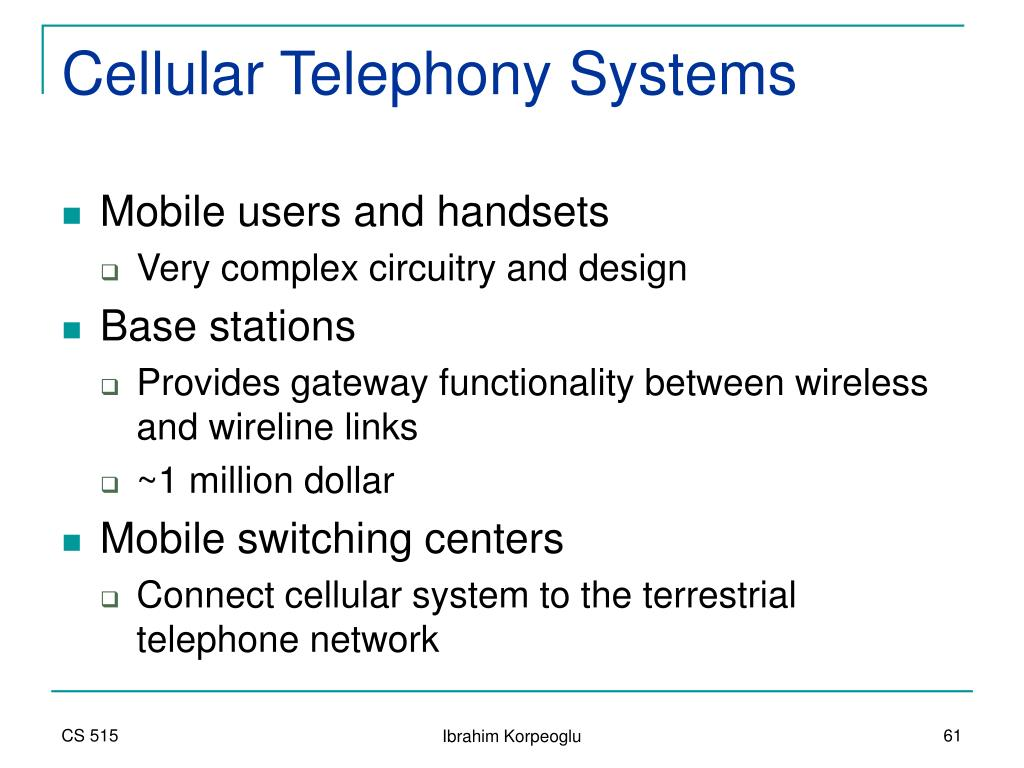 Cellular Telephony Systems