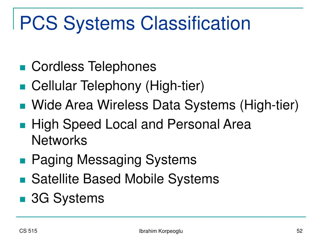 PCS Systems Classification