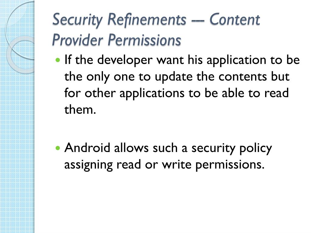 Security Refinements --- Content Provider Permissions