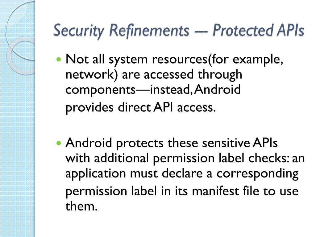 Security Refinements --- Protected APIs
