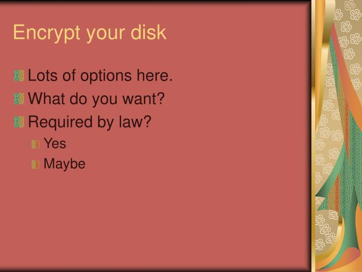 Encrypt your disk