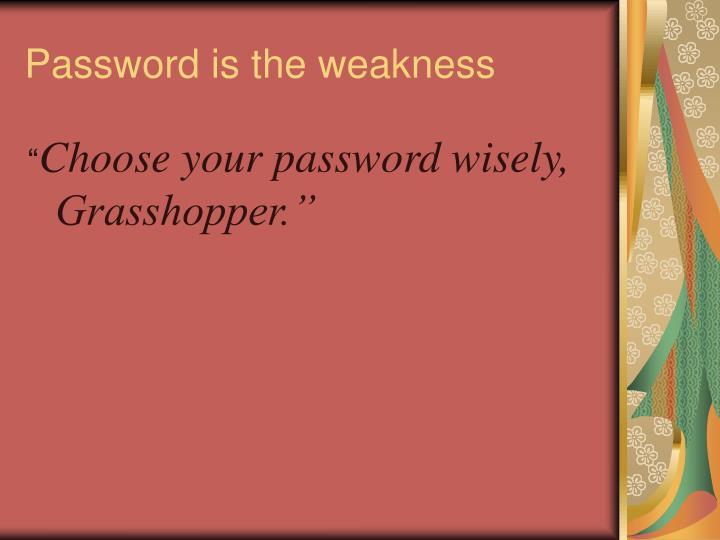 Password is the weakness