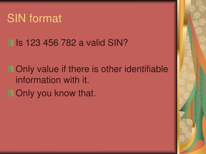 SIN format