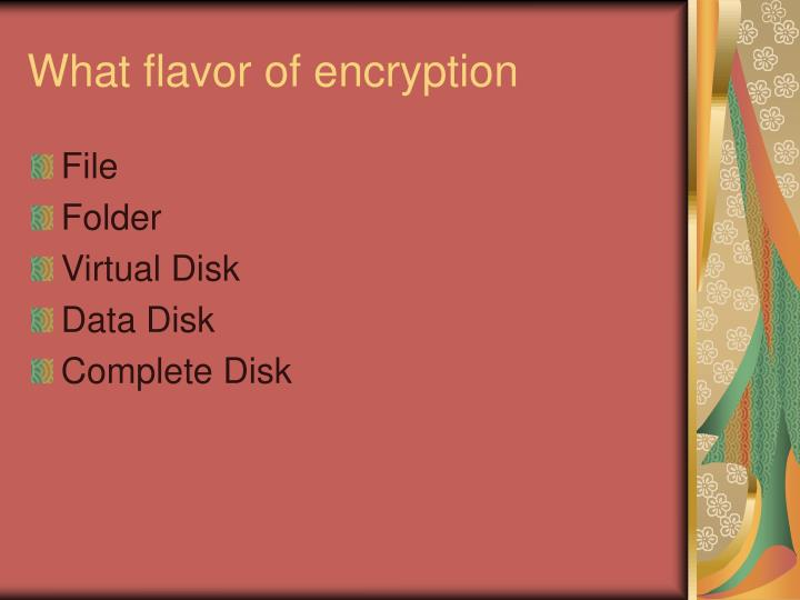 What flavor of encryption