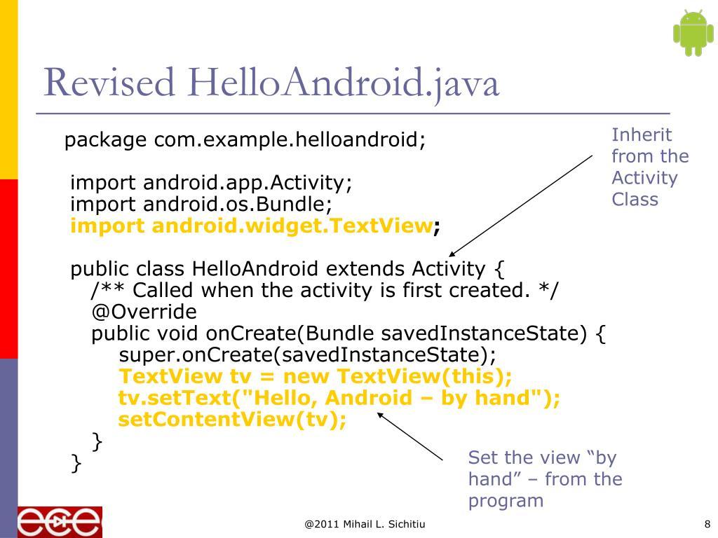 Revised HelloAndroid.java