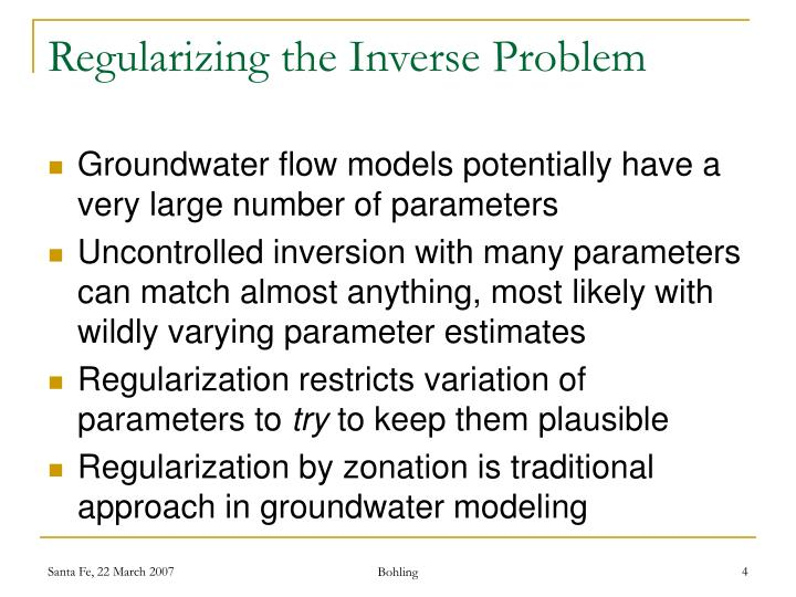 Regularizing the Inverse Problem