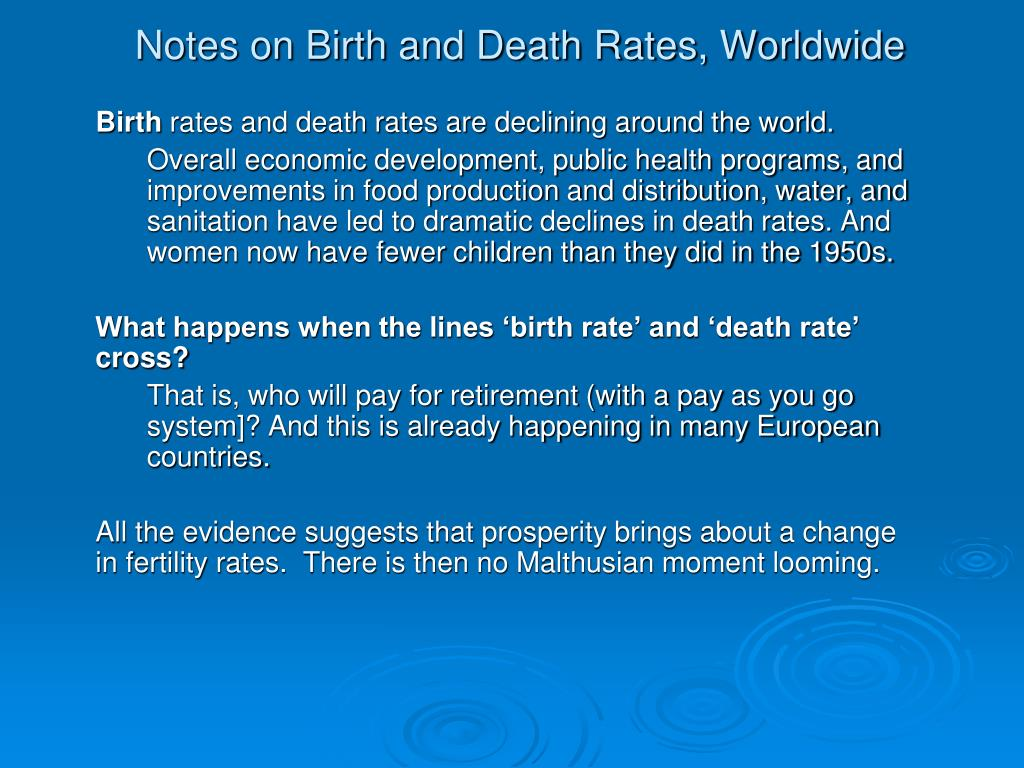 Notes on Birth and Death Rates, Worldwide