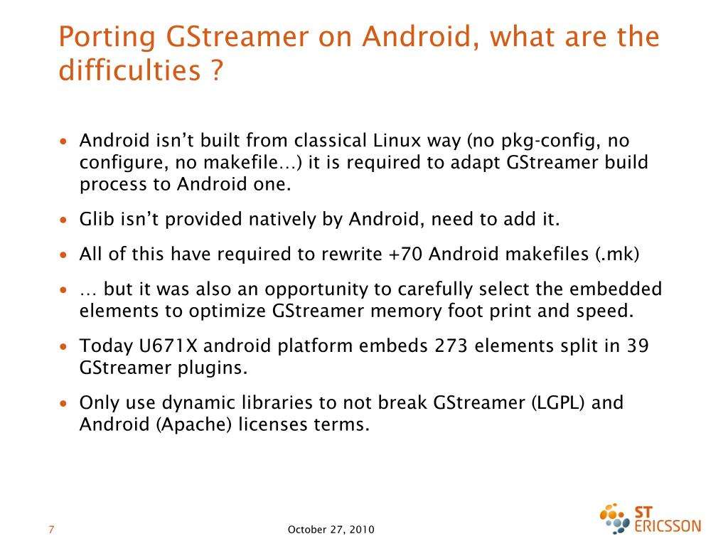 Porting GStreamer on Android, what are the difficulties ?