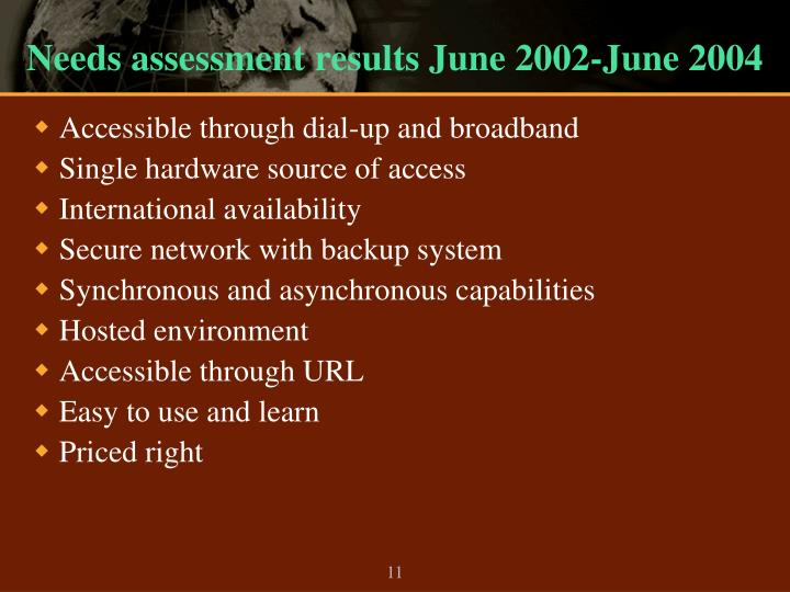 Needs assessment results June 2002-June 2004
