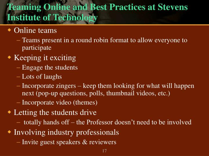Teaming Online and Best Practices at Stevens Institute of Technology