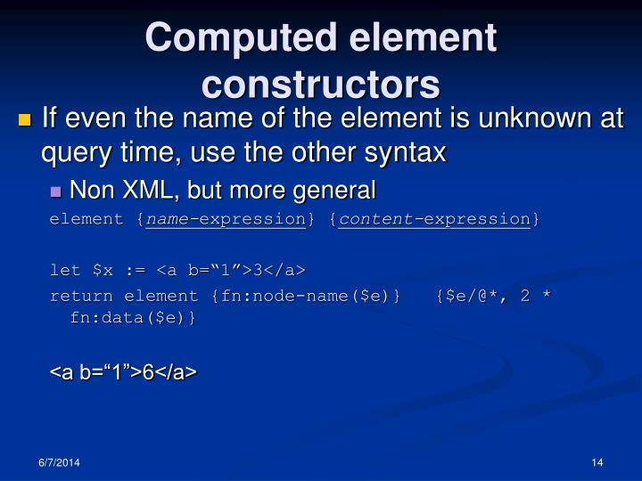 Computed element constructors