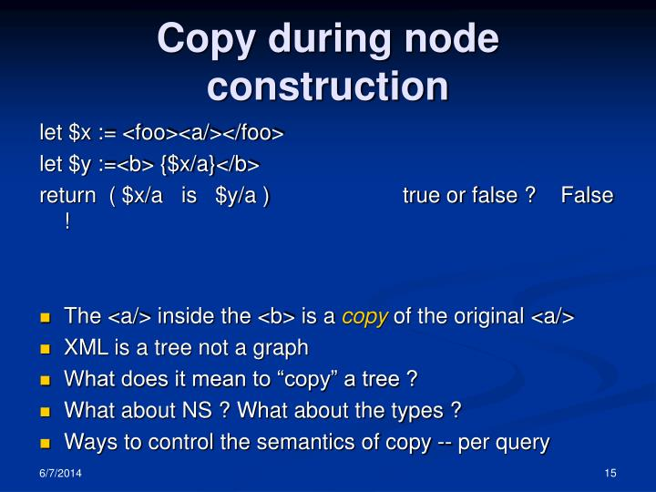 Copy during node construction