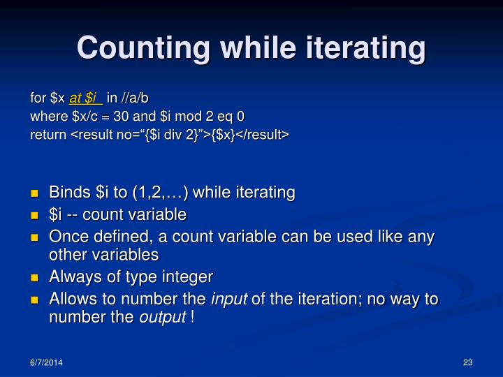 Counting while iterating