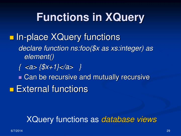 Functions in XQuery