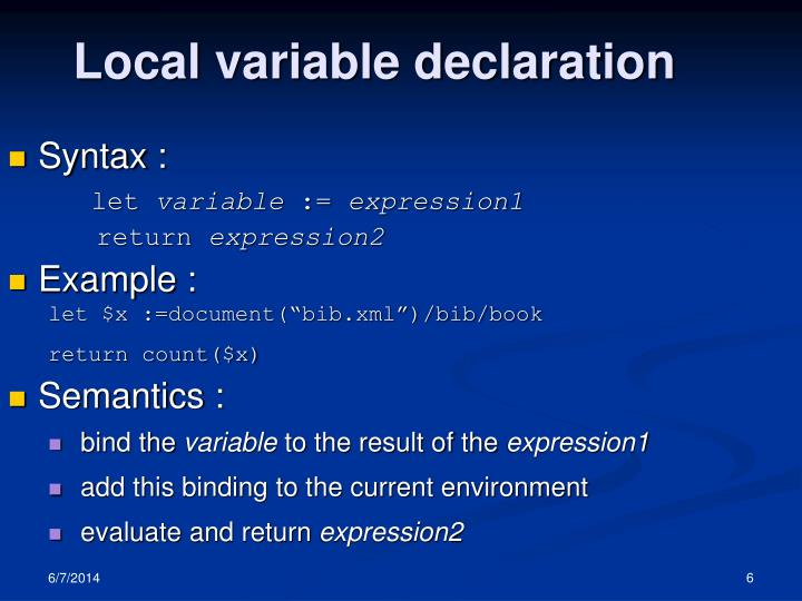 Local variable declaration