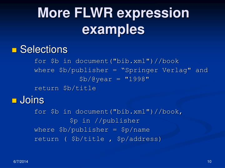 More FLWR expression examples