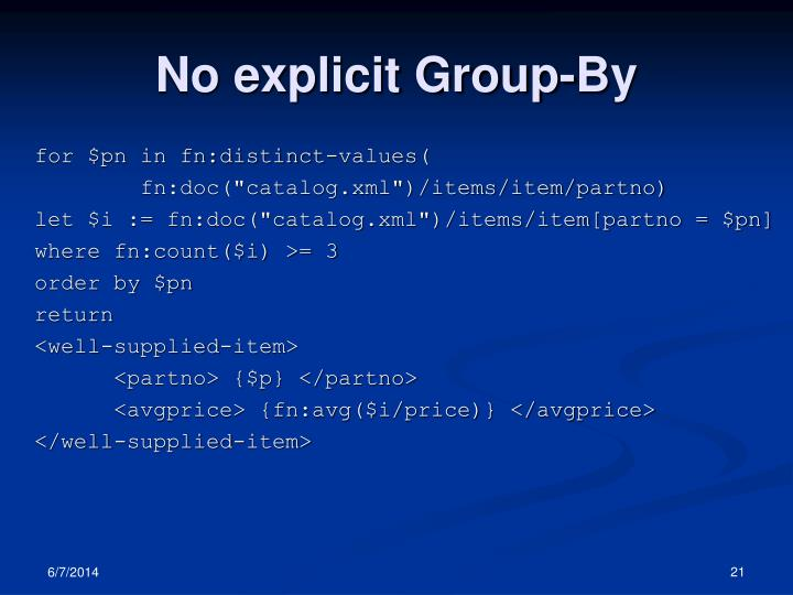 No explicit Group-By