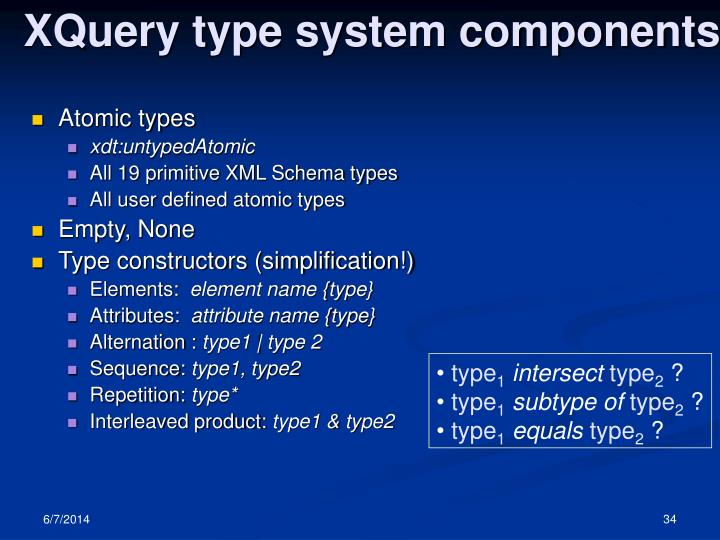 XQuery type system components