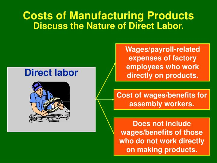Wages/payroll-related expenses of factory employees who work directly on products.