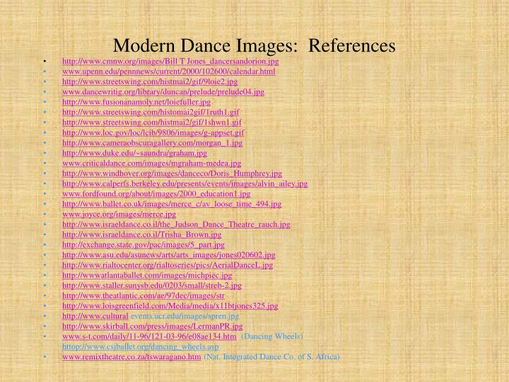 Modern Dance Images:  References