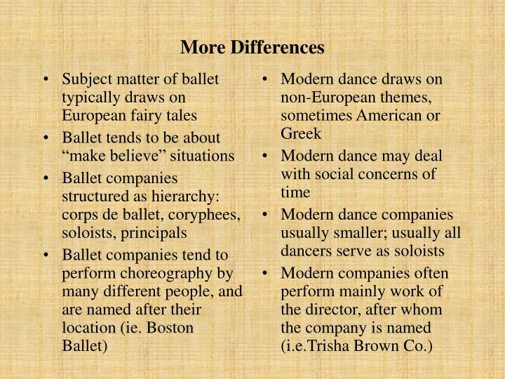 Subject matter of ballet typically draws on European fairy tales