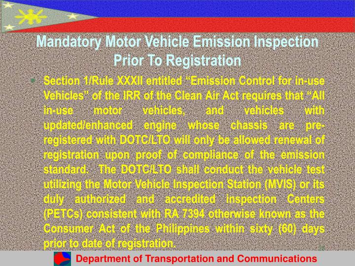 Mandatory Motor Vehicle Emission Inspection Prior To Registration