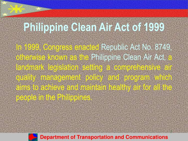 Philippine clean air act of 1999