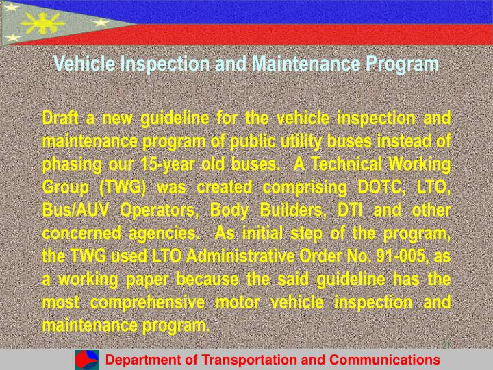 Vehicle Inspection and Maintenance Program