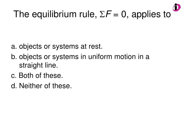 The equilibrium rule,