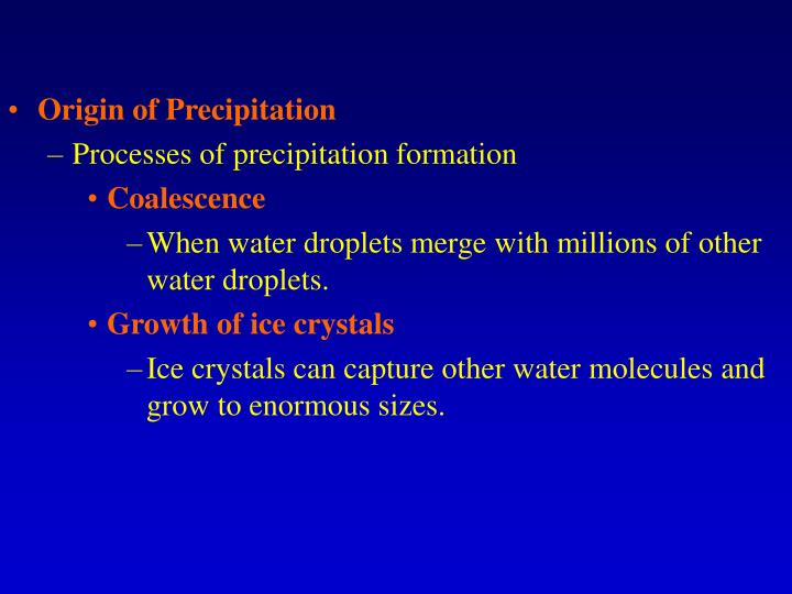Origin of Precipitation