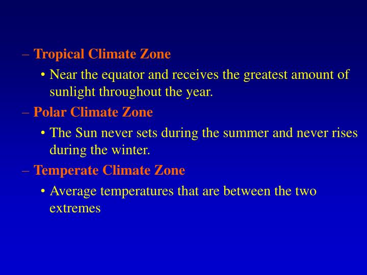 Tropical Climate Zone