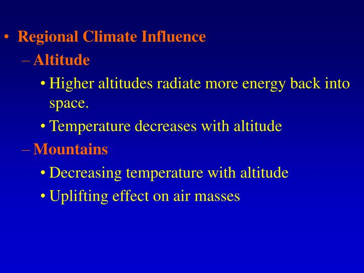 Regional Climate Influence
