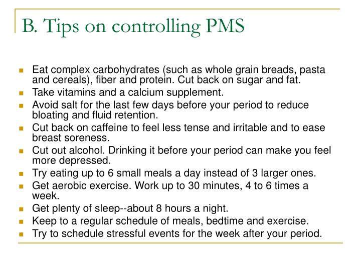B. Tips on controlling PMS