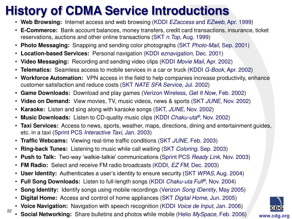 History of CDMA Service Introductions