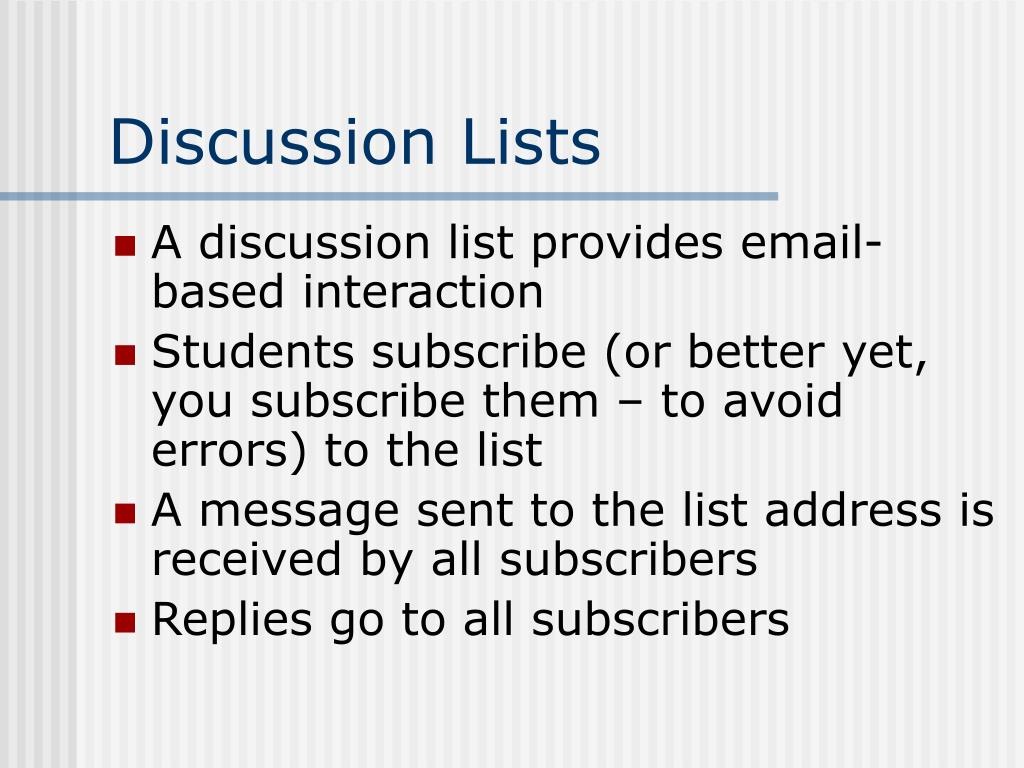 Discussion Lists