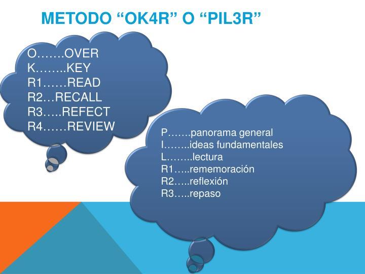"METODO ""OK4R"" O ""PIL3R"""