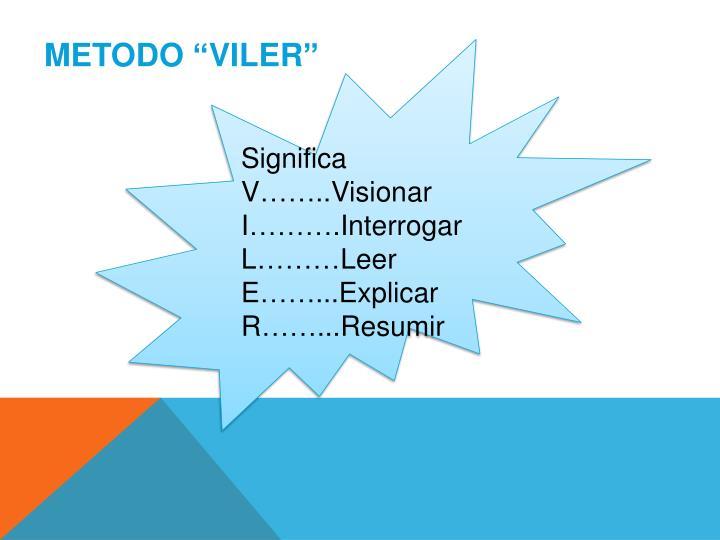 "METODO ""VILER"""