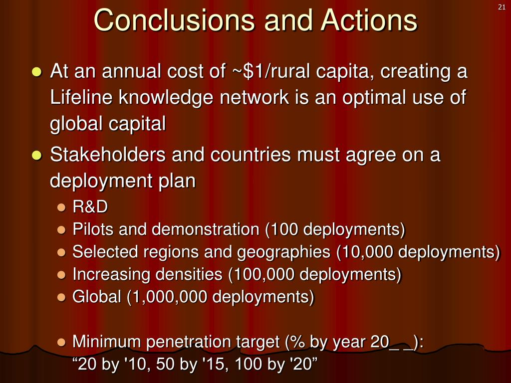 Conclusions and Actions