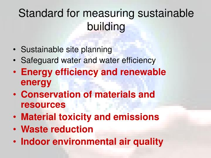 Standard for measuring sustainable building