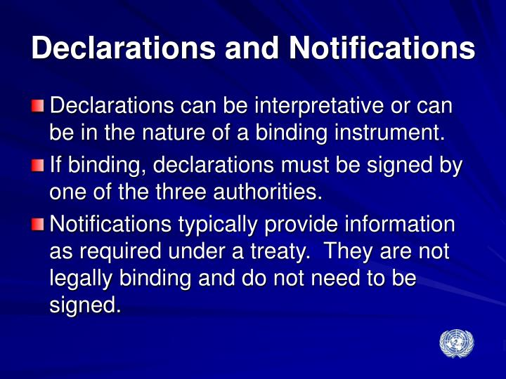 Declarations and Notifications