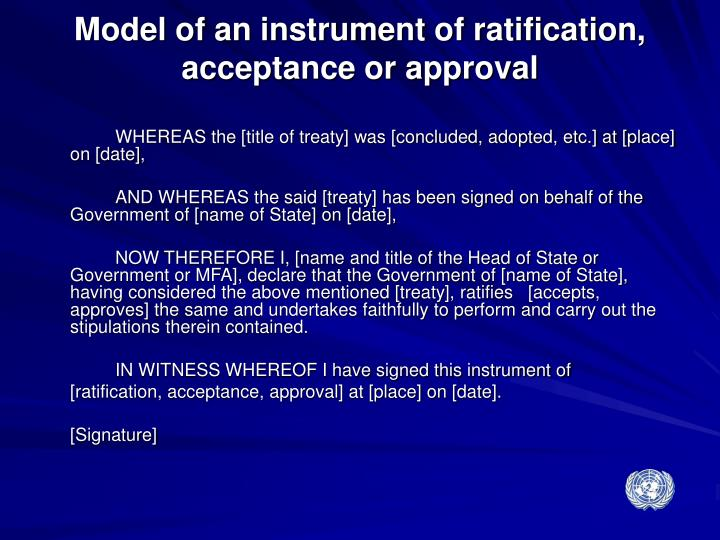Model of an instrument of ratification, acceptance or approval