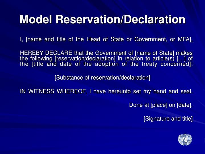 Model Reservation/Declaration