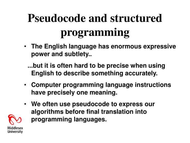 Pseudocode and structured programming