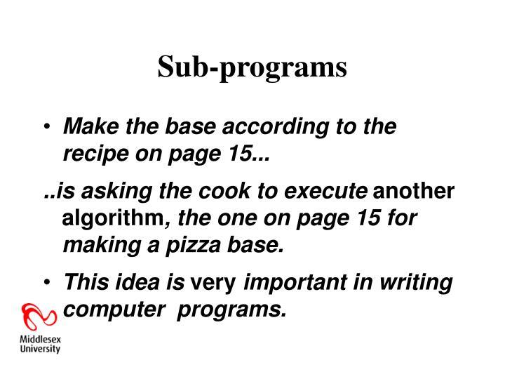 Sub-programs