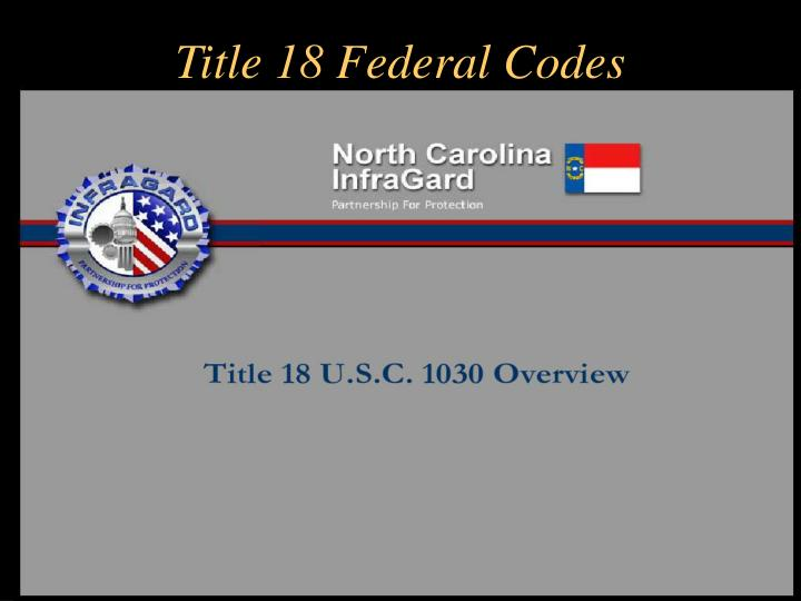 Title 18 Federal Codes