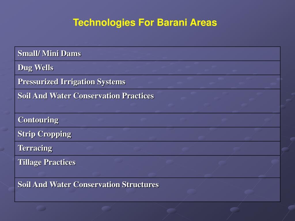 Technologies For Barani Areas