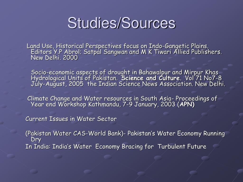 Studies/Sources