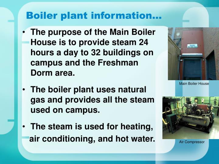 Boiler plant information…