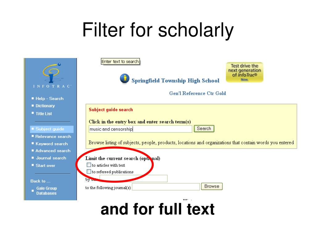 Filter for scholarly