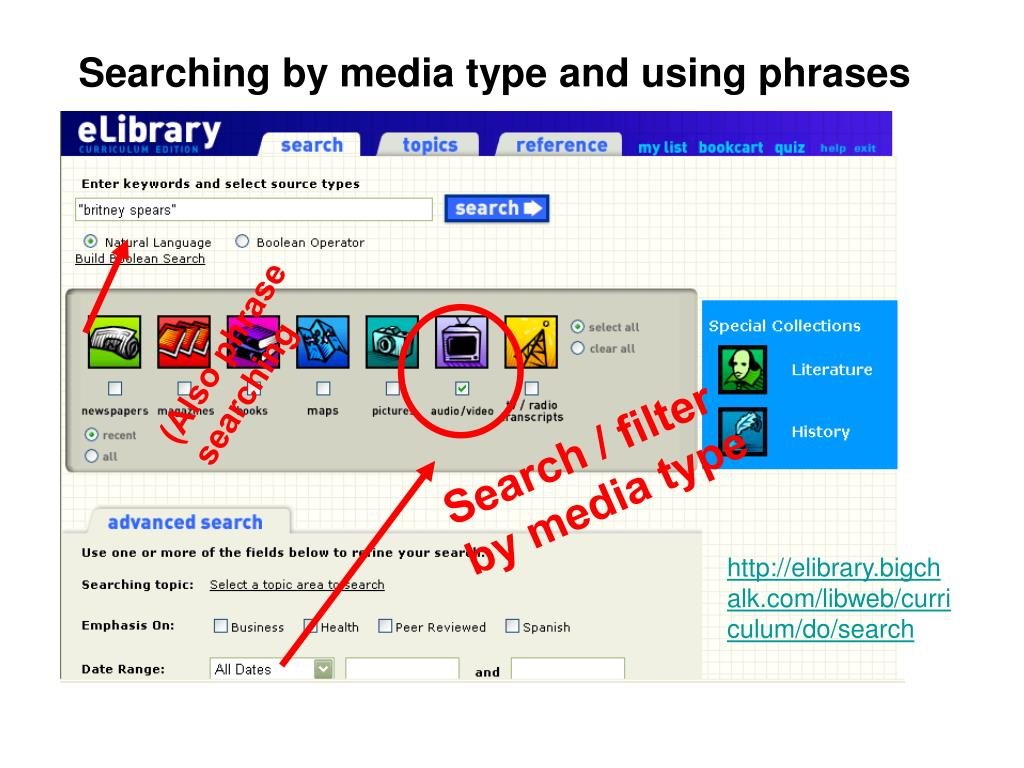 Searching by media type and using phrases
